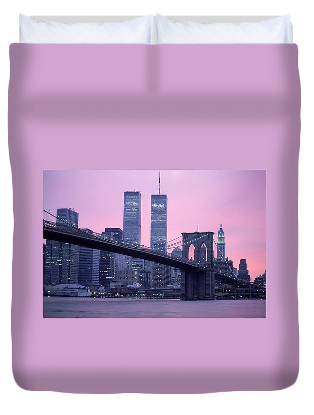 Dawn Duvet Cover featuring the photograph Brooklyn Bridge, Twin Towers, Nyc, Ny by Barry Winiker