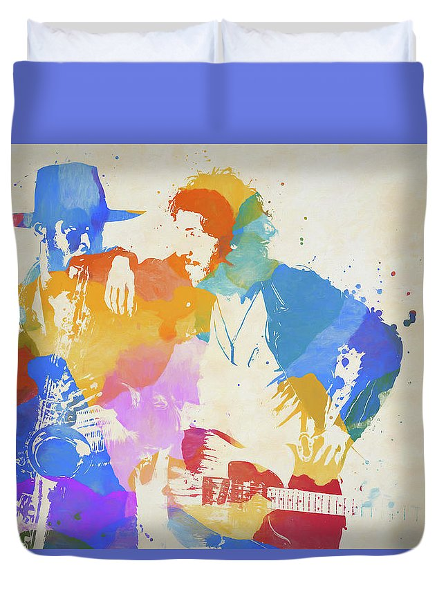 Bruce And The Big Man Duvet Cover featuring the painting Bruce And The Big Man Watercolor Splatter by Dan Sproul