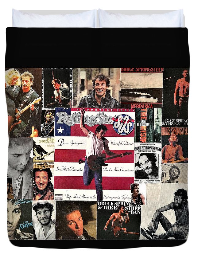 Collage Duvet Cover featuring the digital art Bruce Springsteen Collage 1 by Doug Siegel