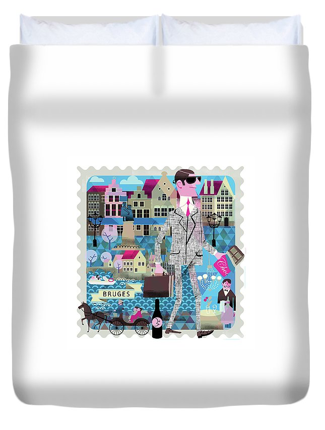 Belgium Duvet Cover featuring the digital art Bruges by Luciano Lozano