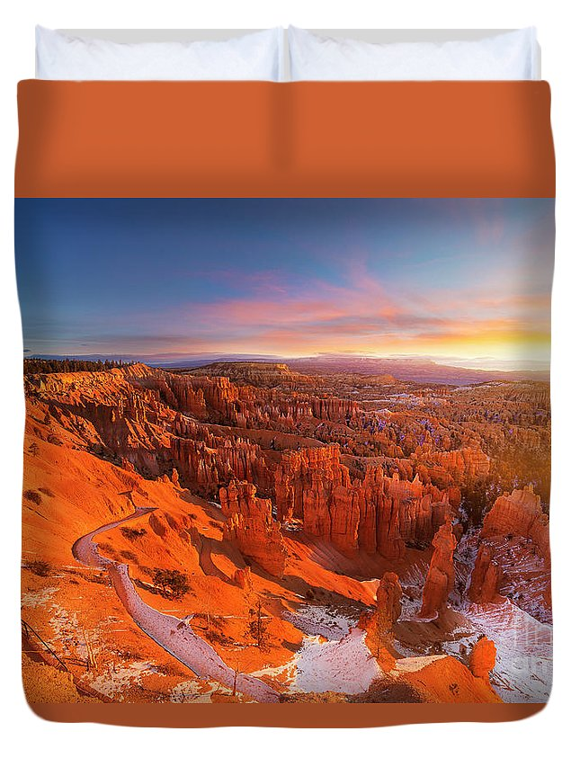Scenics Duvet Cover featuring the photograph Bryce Canyon National Park At Sunset by Ankit Saxena