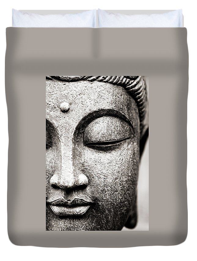 Statue Duvet Cover featuring the photograph Buddha Face by Maodesign