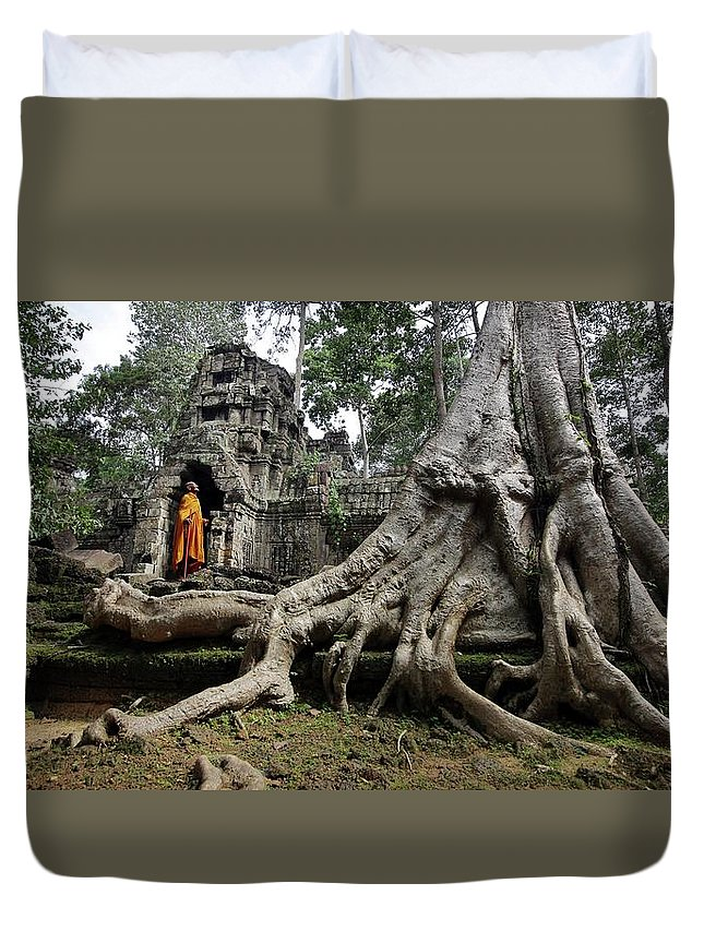 Orange Color Duvet Cover featuring the photograph Buddhist Monk At Angkor Wat Temple by Timothy Allen