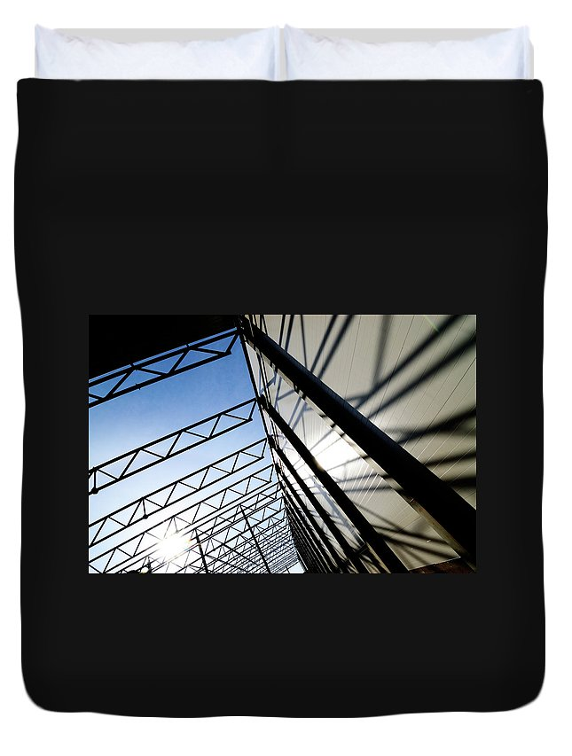 Shadow Duvet Cover featuring the photograph Building Abstract by Maximgostev