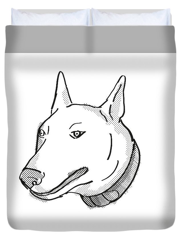 Retro Duvet Cover featuring the digital art Bull Terrier Dog Breed Cartoon Retro Drawing by Aloysius Patrimonio