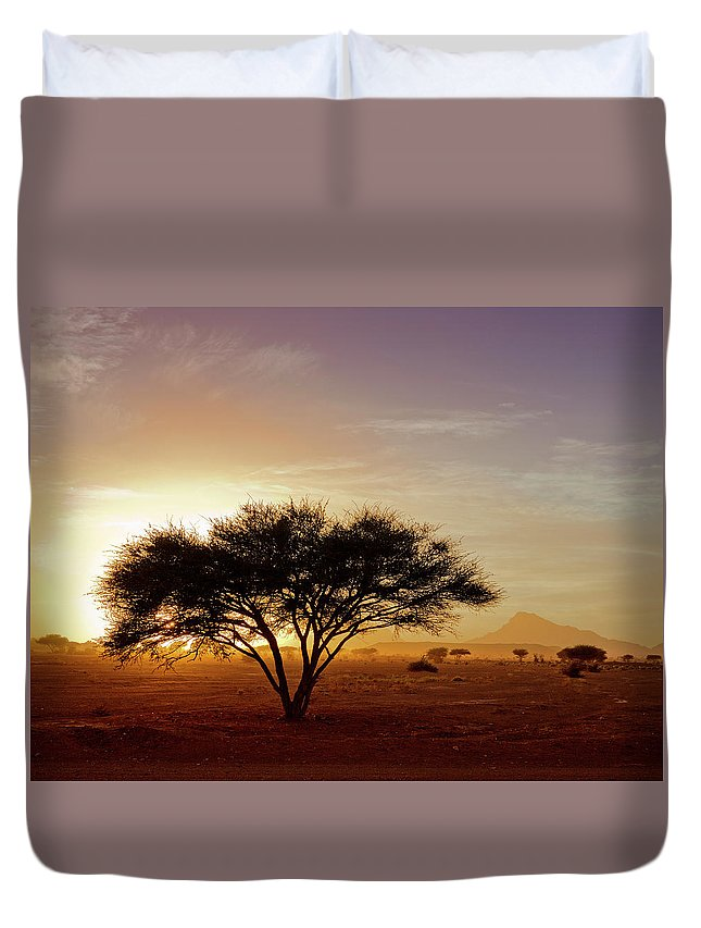 Tranquility Duvet Cover featuring the photograph Burning Desert by Bernd Schunack