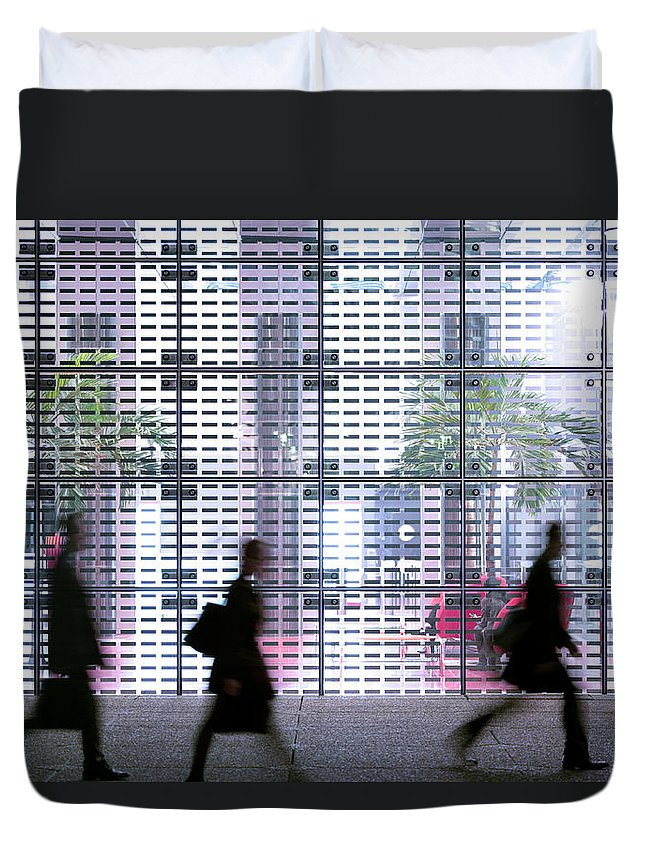 People Duvet Cover featuring the photograph Business People Passing Modern Office by Eschcollection