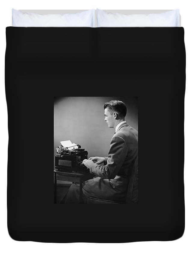 Three Quarter Length Duvet Cover featuring the photograph Businessman Inside Office Typing by George Marks