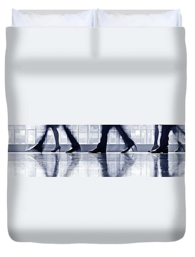 Corporate Business Duvet Cover featuring the photograph Businesspeople Walking In Lobby, Low by Poba