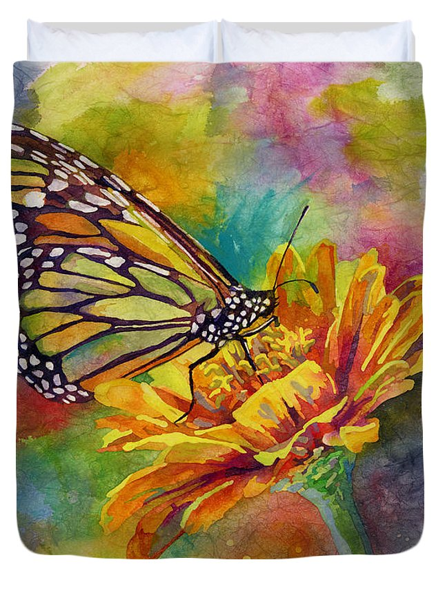 Butterfly Duvet Cover featuring the painting Butterfly Kiss by Hailey E Herrera