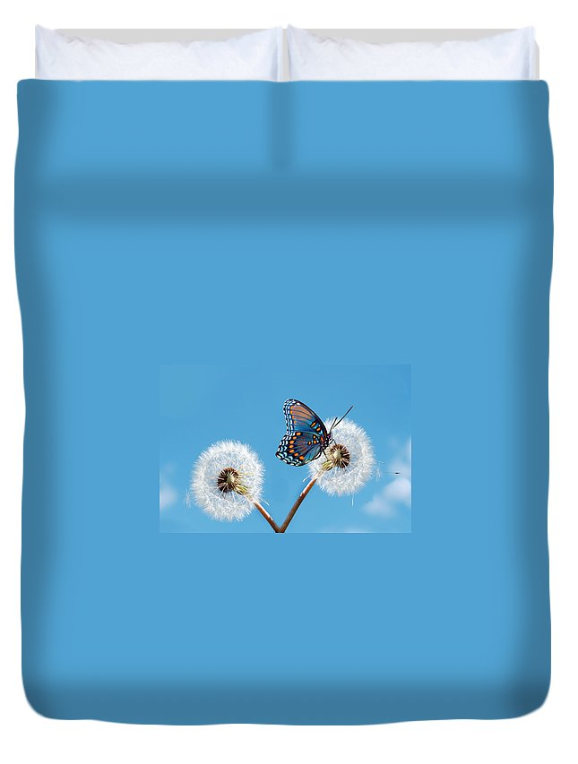 Animal Themes Duvet Cover featuring the photograph Butterfly On Dandelion by Maria Wachala
