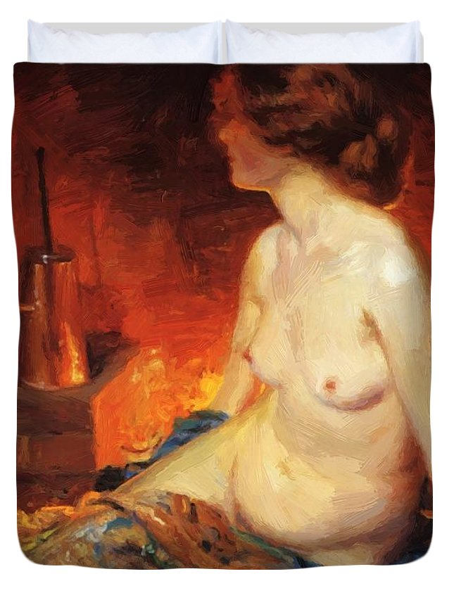 By Duvet Cover featuring the painting By The Fireside 1910 by Guy Rose