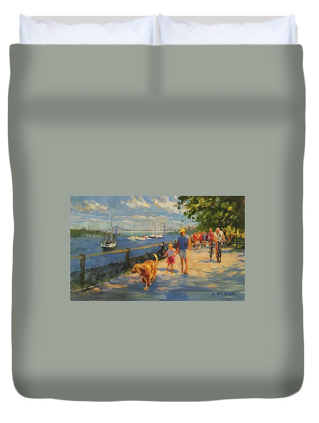 New York Duvet Cover featuring the painting By The River, Sunday Morning by Peter Salwen