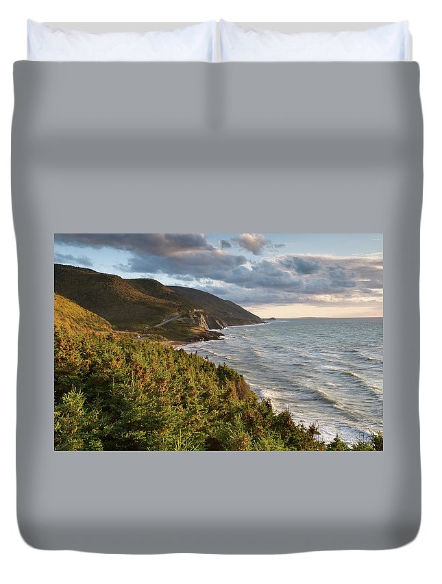 Scenics Duvet Cover featuring the photograph Cabot Trail Scenic by Shayes17