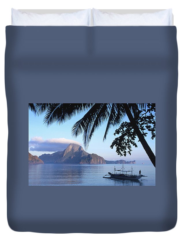 People Duvet Cover featuring the photograph Cadlao Island From El Nido, Sunrise by Dallas Stribley
