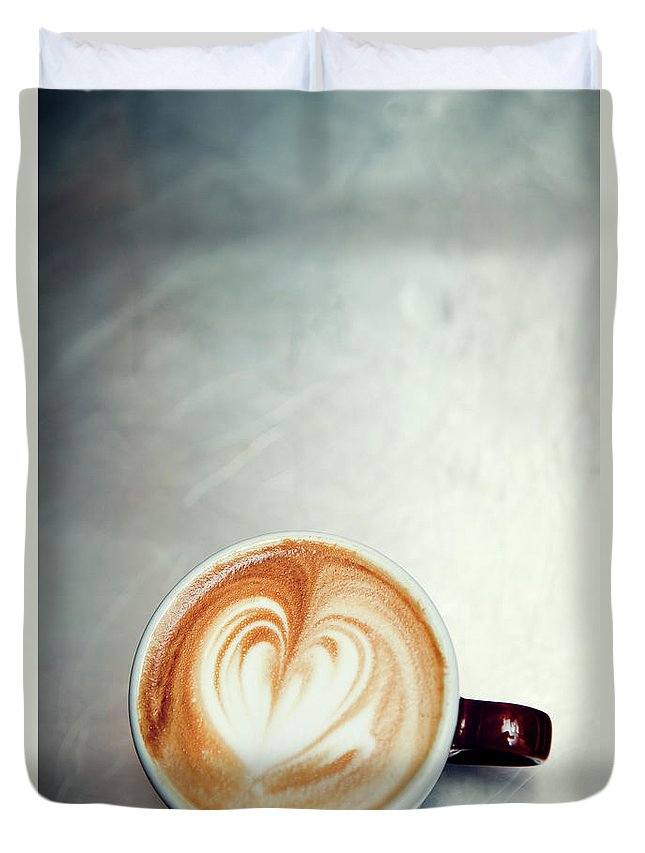 Spoon Duvet Cover featuring the photograph Caffe Macchiato Heart Shape On Brushed by Ryanjlane