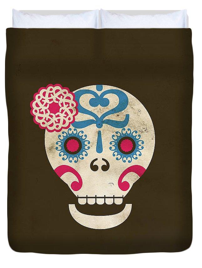 Animal Skull Duvet Cover featuring the digital art Calaca by Marco Recuero