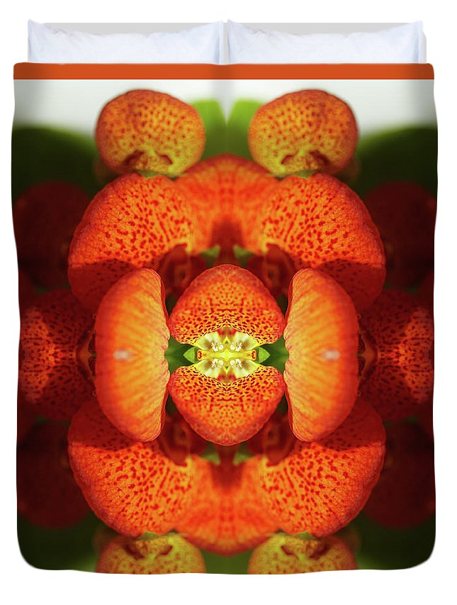 Tranquility Duvet Cover featuring the photograph Calceolaria Flower by Silvia Otte