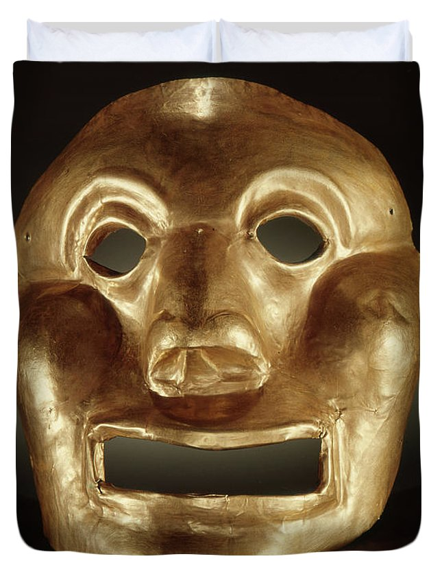 Mask Duvet Cover featuring the photograph Calima Mask by Peruvian School