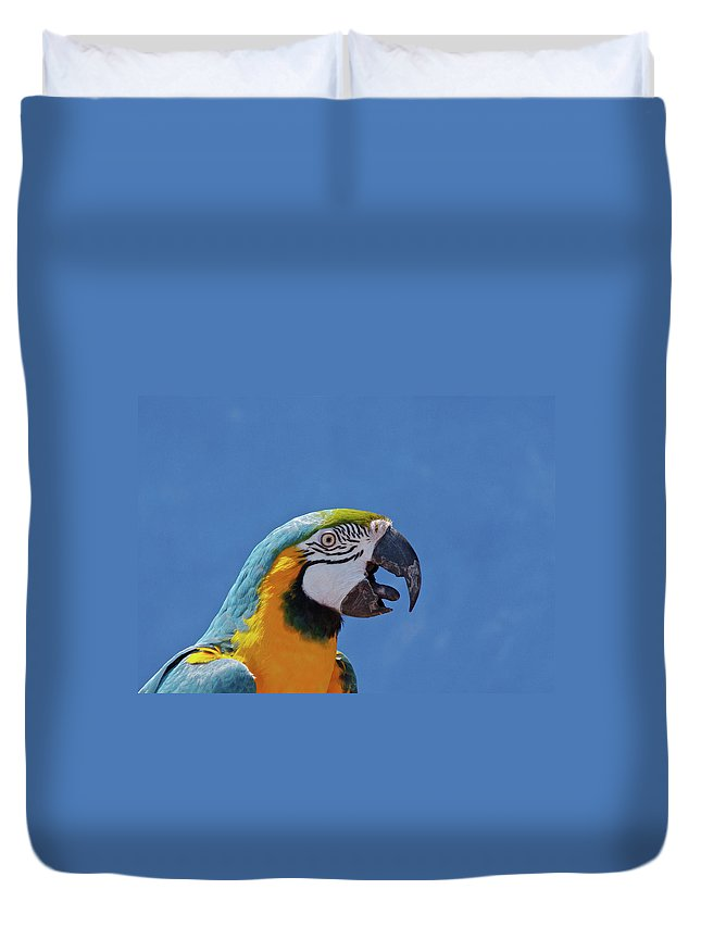 Macaw Duvet Cover featuring the photograph Call Of Macaw by Photo By Robert Mooney
