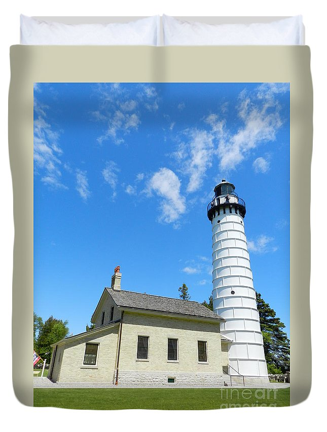 Cana Island Duvet Cover featuring the photograph Cana Island Lighthouse Blue Sky by Snapshot Studio