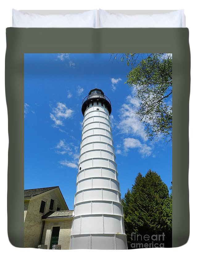 Cana Island Duvet Cover featuring the photograph Cana Island Lighthouse Tower by Snapshot Studio