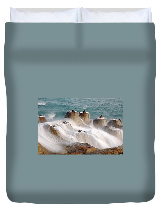 Taiwan Duvet Cover featuring the photograph Candle Shaped Rock by Maxchu
