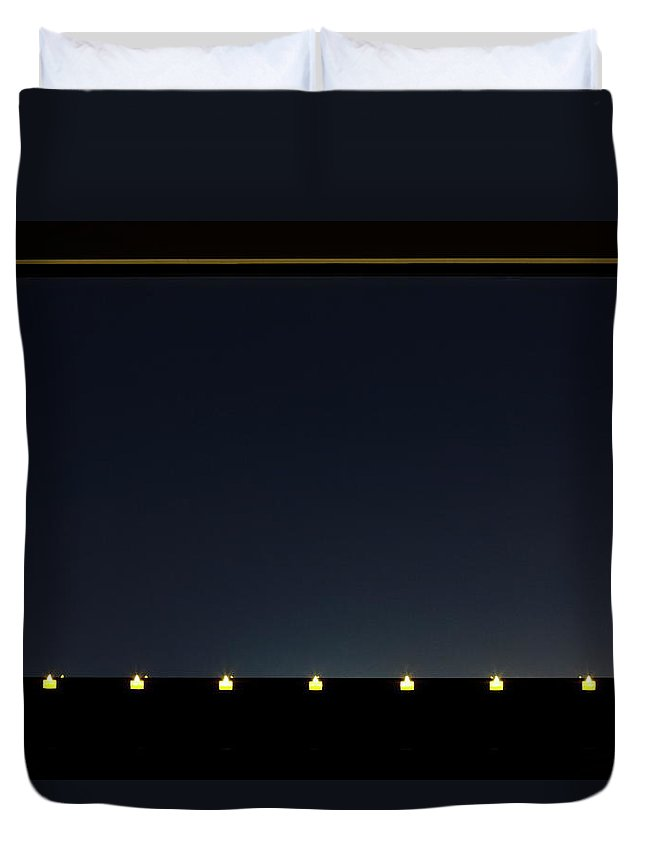 Empty Duvet Cover featuring the photograph Candles In A Row By The Window by Sot