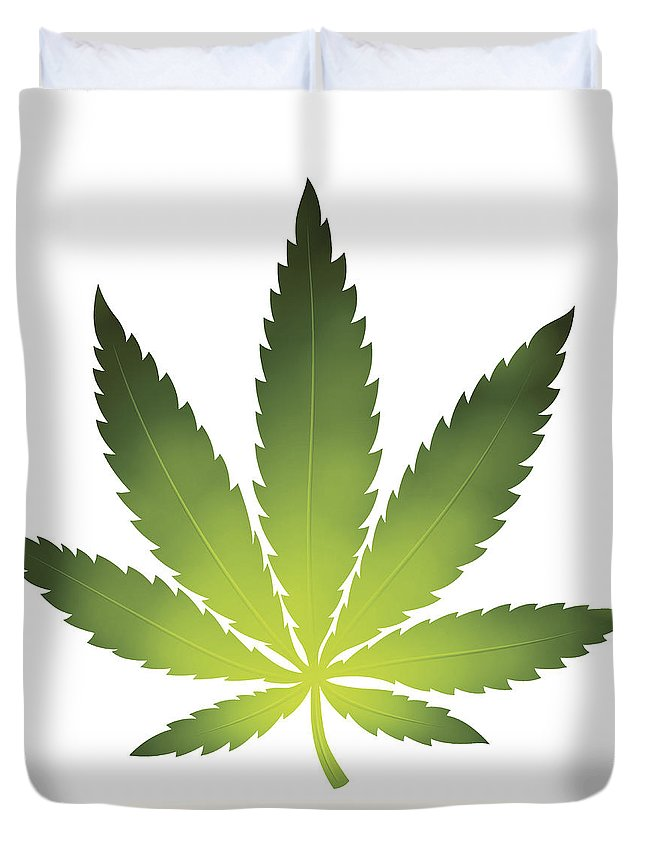 White Background Duvet Cover featuring the digital art Cannabis Leaf by Filo