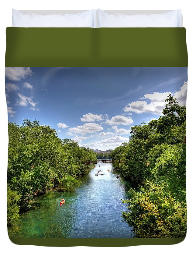 Recreational Pursuit Duvet Cover featuring the photograph Canoes On Town Lake In Downtown Austin by Metschan