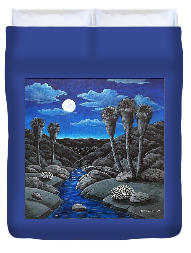 Canyon Duvet Cover featuring the painting Canyon Moonrise by Snake Jagger