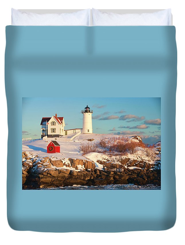 Snow Duvet Cover featuring the photograph Cape Neddick Nubble Light by Kickstand