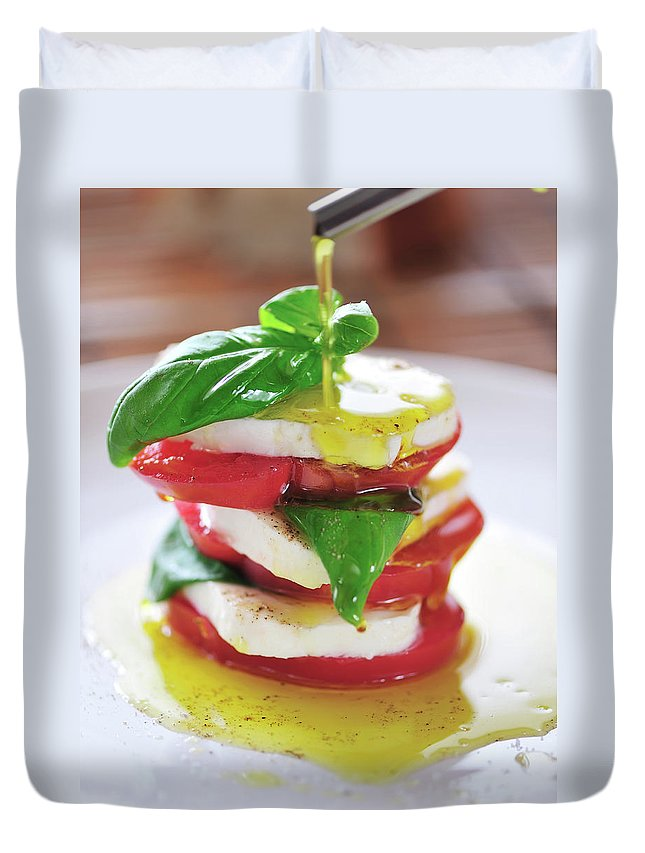 Caprese Salad Duvet Cover featuring the photograph Caprese by Tanya f