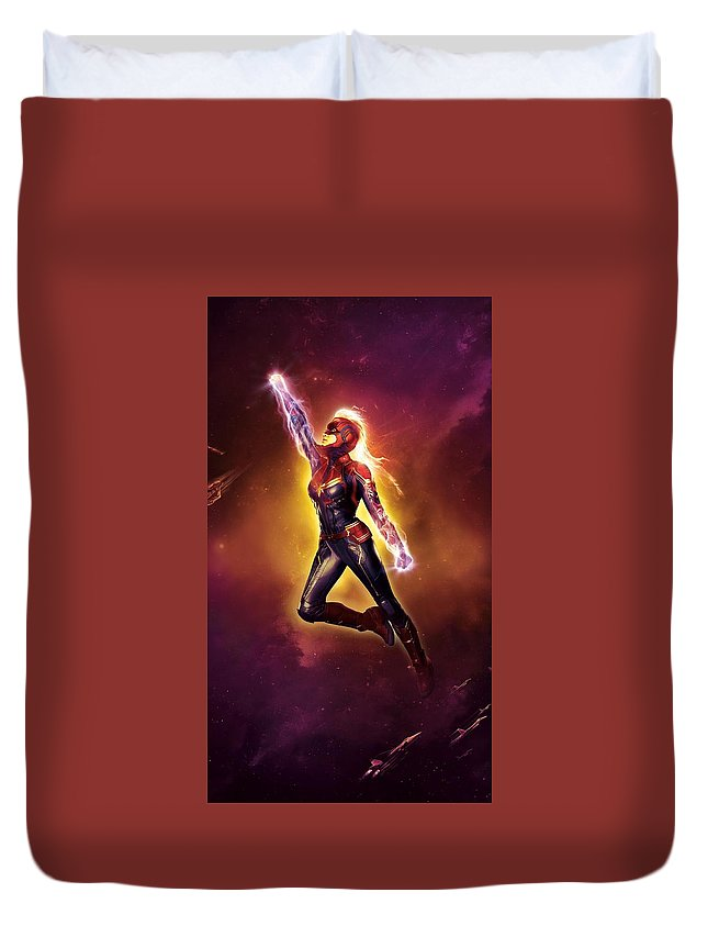 Captain Marvel 2019 Duvet Cover featuring the digital art Captain Marvel 2019 by Geek N Rock