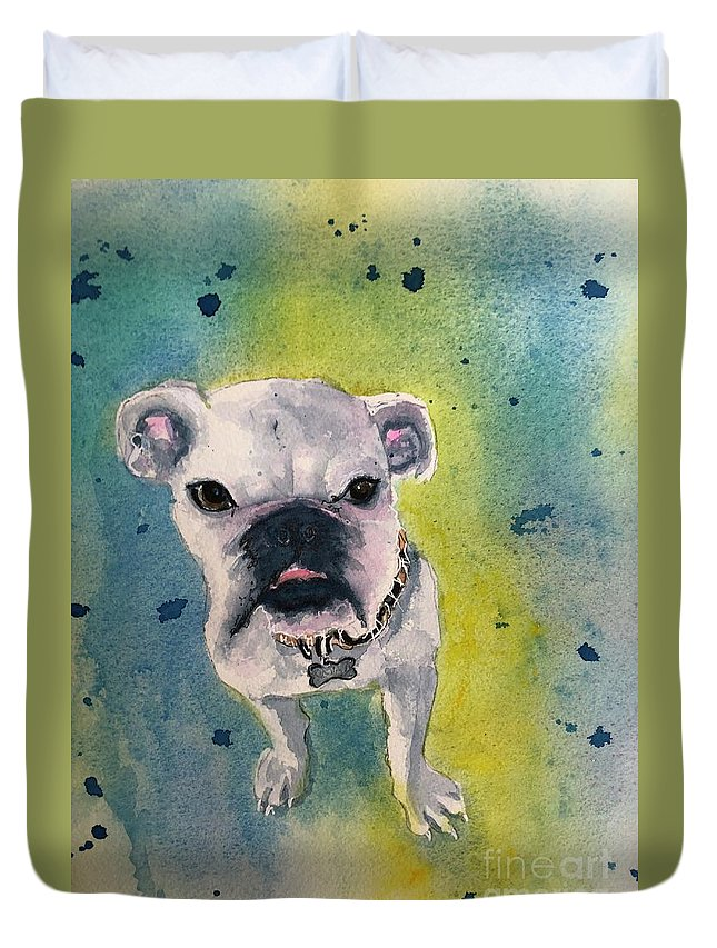 English Bulldog Duvet Cover featuring the painting Captain by Midge Pippel