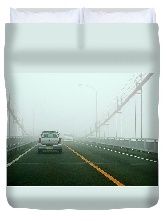 Dawn Duvet Cover featuring the photograph Car Crossing Bridge by Kurosaki San