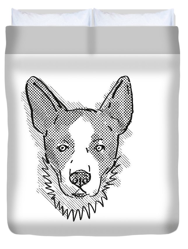 Retro Duvet Cover featuring the digital art Cardigan Welsh Corgi Dog Breed Cartoon Retro Drawing by Aloysius Patrimonio
