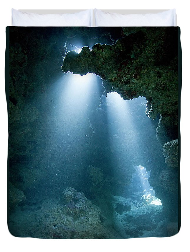 Underwater Duvet Cover featuring the photograph Caribbean Sea, Cayman Islands, Grand by Paul Souders