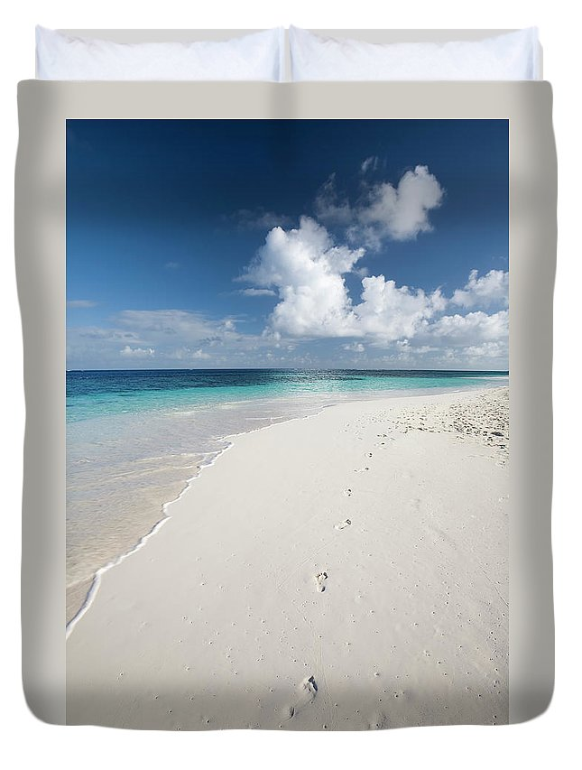 Scenics Duvet Cover featuring the photograph Caribbean White Sand Beach by Stevegeer