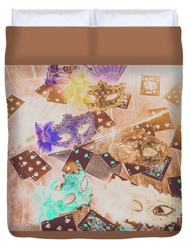 Magician Duvet Cover featuring the photograph Carnival Of Cards by Jorgo Photography - Wall Art Gallery
