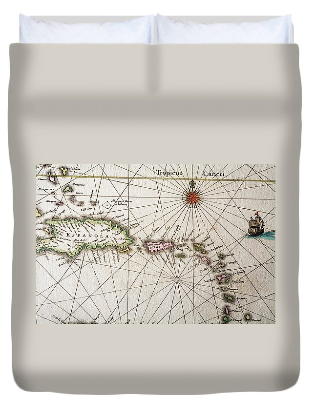 Engraving Duvet Cover featuring the digital art Carribean Islands by Goldhafen