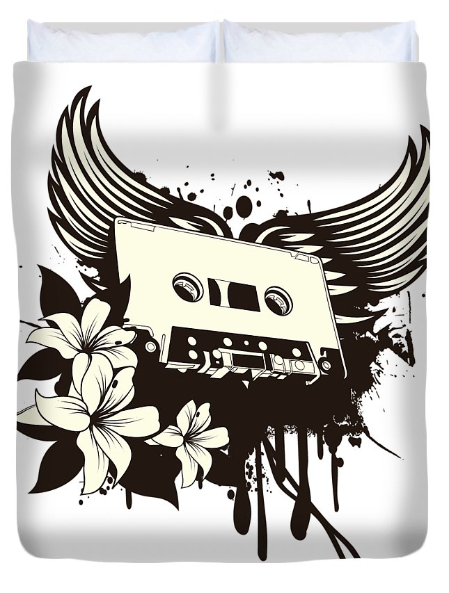 Gothic Duvet Cover featuring the digital art Cassette Tape With Wings by Passion Loft