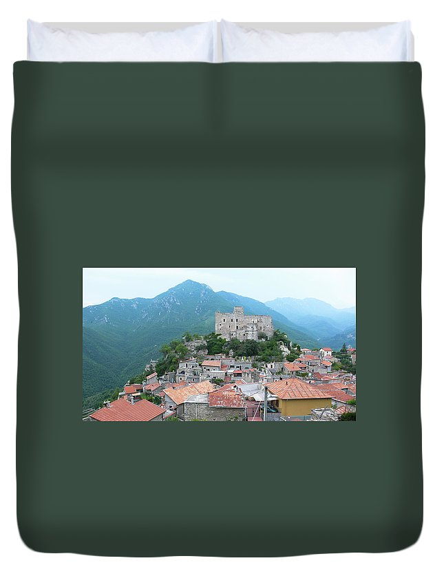 Tranquility Duvet Cover featuring the photograph Castelvecchio Di Rocca Barbena by Photo By Randi Larsen