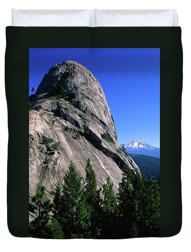 Toughness Duvet Cover featuring the photograph Castle Crags With Mt Shasta In by John Elk Iii