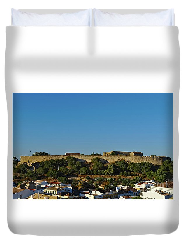 Cityscape Duvet Cover featuring the photograph Castle Of Castro Marim From The Hill by Angelo DeVal