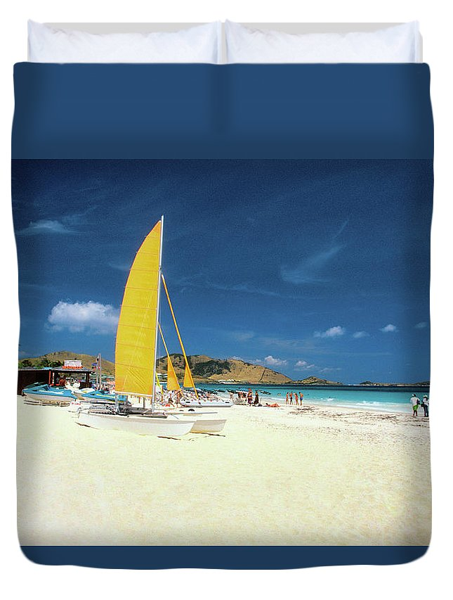 Orient Beach Duvet Cover featuring the photograph Catamarans And People On Martin Orient by Medioimages/photodisc