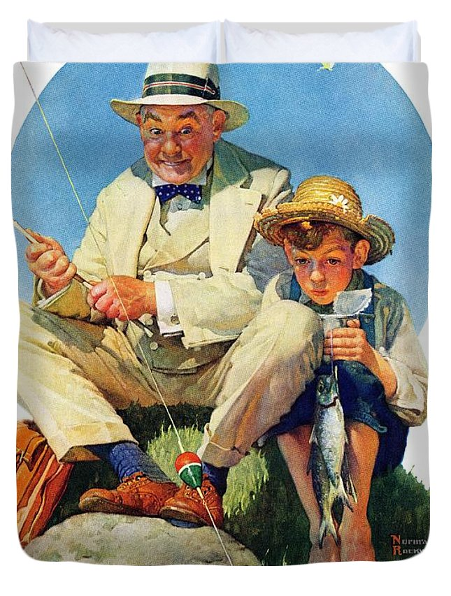 Boy Duvet Cover featuring the drawing Catching The Big One by Norman Rockwell