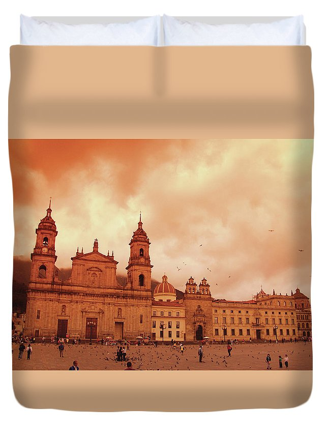 Clock Tower Duvet Cover featuring the photograph Cathedral In Bogota, Colombia, South by Medioimages/photodisc