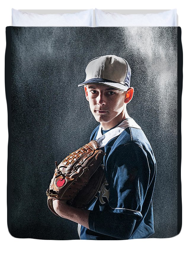 Baseball Cap Duvet Cover featuring the photograph Caucasian Baseball Player Standing by Erik Isakson