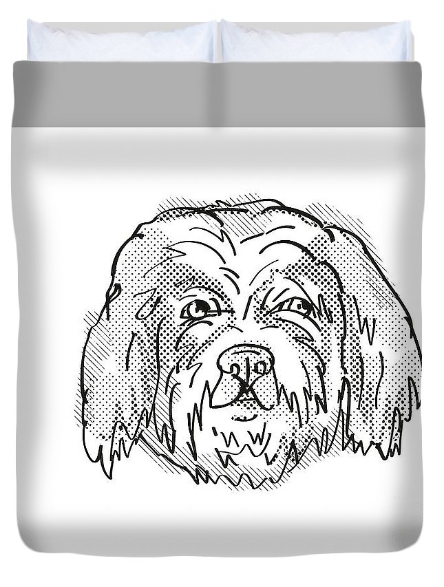 Retro Duvet Cover featuring the digital art Cavachon Dog Breed Cartoon Retro Drawing by Aloysius Patrimonio